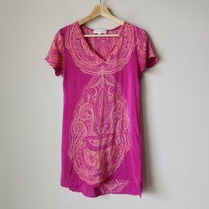 Amanda Uprichard Pink Silk Short Sleeve Dress
